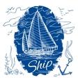 Nautical emblem with ship vector