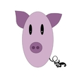 Little funny pig pink color vector