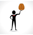 Man holding brain icon vector