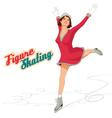 Figure skater girl in pink dress vector