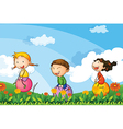 Kids playing with the bouncing balloons vector