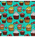 Seamless pattern with muffins and cherries vector