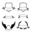 Set of decorative frames with ribbon emblems vector