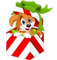 Puppy in christmas gift box vector