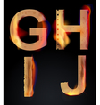 Burning letters ghij vector