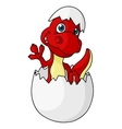 Cute little dinosaur hatching from an egg vector