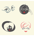 Set of emblems with glasses vector