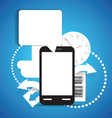 Modern mobile phone with communication cloud vector
