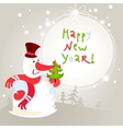 Snowman with christmas tree - greeting card 10eps vector