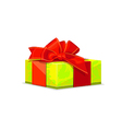 Green gift with red bow vector