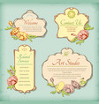 Set of vintage antique styled labels with flowers vector