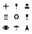 Marking of cargo icons set vector