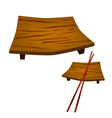 Two geta plate or wooden sushi board vector