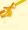 Yellow bow ribbon with snowflake vector