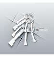 3d paper keys modern design vector