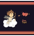 Cute cupid in the dark sky vector