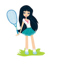 Young girl with a tennis racket over white vector
