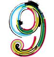 Grunge colorful font number 9 vector