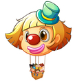 A big clown balloon with a basket full of happy vector