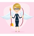 Beautiful girl in a cupid suit with wings bow and vector