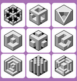 Cube icon set 6 vector