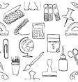 Sketch stationery seamless pattern vector