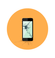Black broken smartphone flat circle icon vector