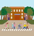 Kids walking to school vector