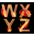 Burning letters wxyz vector