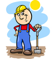 Worker with spade cartoon vector