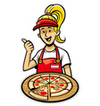 Girl presenting a delicious pizza vector
