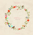 Vintage wreath with foliate ornament and flowers vector