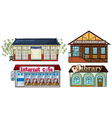 Asian building pub internet cafe and a library vector