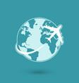 Global plane travel network icon vector