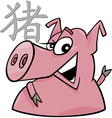 Pig chinese horoscope sign vector
