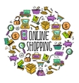 Online shopping circle vector