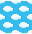 White fluffy clouds in a blue sky seamless pattern vector