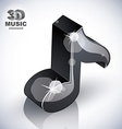 Black musical note icon from upper view isolated vector