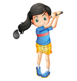 A young girl playing golf vector