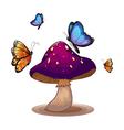 A big mushroom with butterflies vector