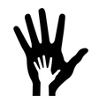 Parent hand with baby hand vector