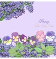 Background with pansies and lilac vector