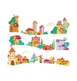Set of colored cartoon houses painted by hand vector
