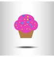 Sweet pink cartoon cupcake vector