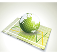 Green globe on glass with various diagram vector
