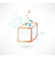 Music box grunge icon vector