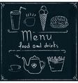 Hand drawn restaurant menu design on blackboard vector