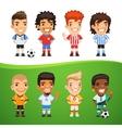 Cartoon international soccer players set vector