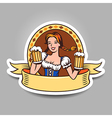 Beer girl sticker vector