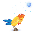 Cartoon sleeping cock on white background vector